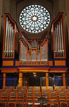 Free Stained Glass, Chapel, Organ, Organ Pipe Royalty Free Stock Photos - 122828728