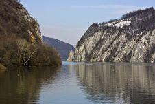 The Danube Streaming Through The Mountains Stock Photos
