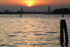 Free Venice Sunset Panorama Stock Images - 1234124