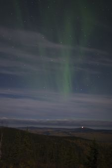 Free Barely Visible Aurora In Cloudy Sky Stock Images - 1235094