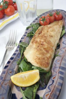 Fish And Salad On Earthenware Platters; Water Glass Stock Photo