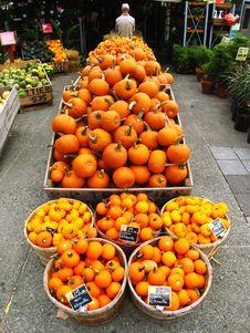 Pumpkins At The Market Stock Images