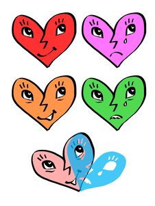 Free Heart Emotion Faces - Joy And Sadness Masks Royalty Free Stock Photo - 12314915