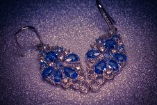 Free Silver Earring With Tanzanite Stock Images - 123652674