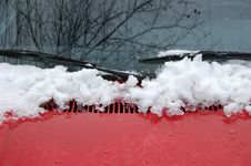 A Car Window With Snow Royalty Free Stock Photo