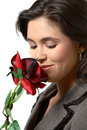Free Woman Smelling Rose Stock Images - 1248964