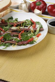 Beef Carpaccio; Butter Tablemat Stock Photo
