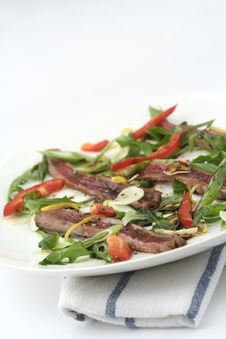 Free Beef Carpaccio; Salad Only, Angled Royalty Free Stock Photos - 1240178