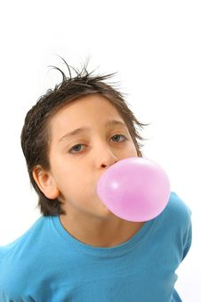 Free Boy Blowing A Pink Bubble Gum Stock Images - 1241584