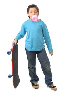 Boy Blowing A Bubble Gum Holding A Skate Stock Photos