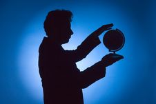 Free Silhouette Of Man With Globe Royalty Free Stock Photos - 1245578