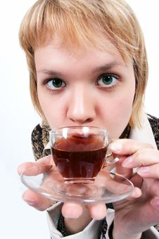 Free Young Woman With Cup Of Tea Stock Photos - 1245943