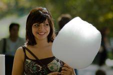 Girl With Cotton-candy Stock Photos