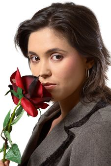 Free Woman Smelling Rose Royalty Free Stock Photo - 1249005