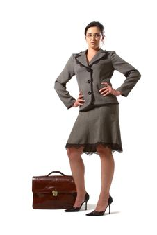 Business Woman With Glasses And Briefcase Stock Images
