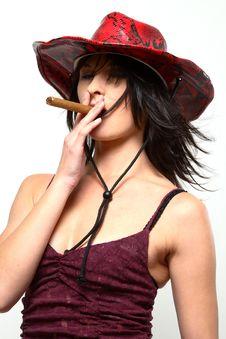 Free Cowboy Woman Smoking Cigar Royalty Free Stock Photo - 1249405