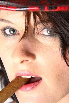 Free Cowboy Woman Smoking Cigar Stock Images - 1249494