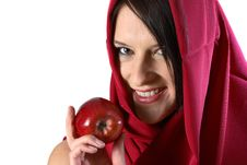 Free Woman Eating Red Apple Royalty Free Stock Photo - 1249615