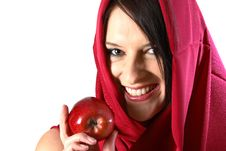 Free Woman Eating Red Apple Stock Image - 1249621