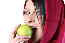 Free Woman Eating Green Apple Royalty Free Stock Photo - 1249655
