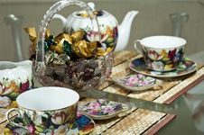 Table For Tea Drinking Royalty Free Stock Photos