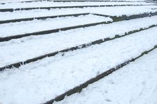 Free Stairs Covered With Snow Royalty Free Stock Photography - 12440507
