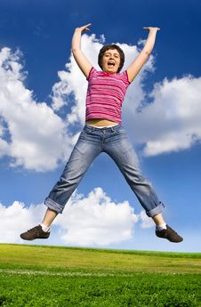Free Young Happy Woman Jumping High Against Blue Sky Stock Photography - 12443722