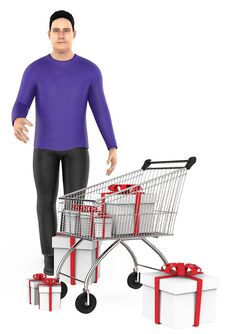 Free 3d Character , Man , Cart And Wrapped Gift Boxes Stock Image - 124792521