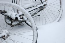 Bike Wheels In The Snow Royalty Free Stock Images