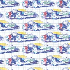 Seamless Pattern With Sport Car. School Pattern Drawing In The Notebook Stock Image