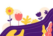 Free Vector Illustration Of A Abstract Flowers Minimal Flat Background Royalty Free Stock Photo - 124911895