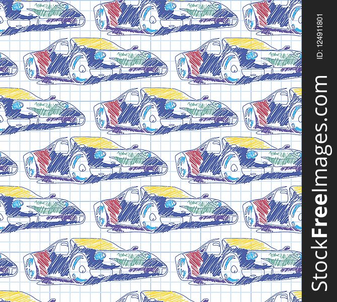 Seamless pattern with sport car. School pattern drawing in the notebook