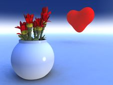 Free Heart And Flowers Stock Images - 1250534