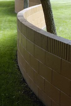S Shaped Wall And Lawn Stock Images