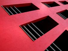 Free Red Facade On Modern Building Stock Image - 1251121
