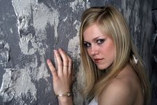 Free The Beautiful Blonde At A Wall Stock Photo - 1252520