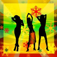 Free Female Silhouettes Dancing In A Disco Royalty Free Stock Photo - 1258465
