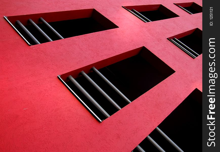 Red facade on modern building