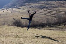 Free Happy Young Woman Jumping Stock Photos - 12524123