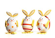 Free Easter Eggs Painted Like Bunnies Royalty Free Stock Image - 12524356