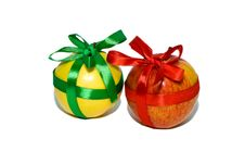 Free Red And Yellow Apples With A Gift Bows Stock Images - 12574524