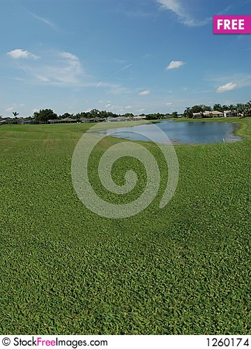 Free Golf Course With Lake Views Stock Images - 1260174