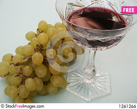 Grapes and glass wine Stock Photo