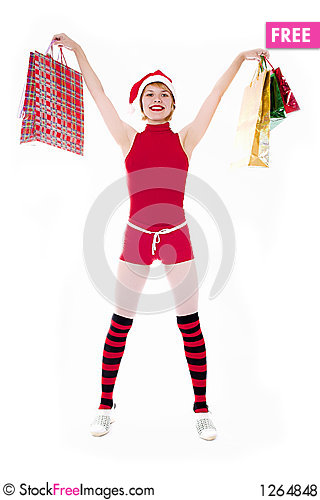 Pretty elf with gifts on white Stock Photo
