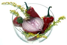 Onion & Chili With Seasonal Herb Royalty Free Stock Photography