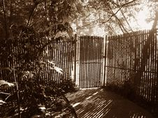 Free Mystery Fence In Sepia Stock Image - 1267121