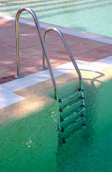 Free Steps Leading Out Of Clear Green Swimming Pool Royalty Free Stock Images - 1268729