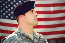 Free Man Wearing Combat Hat And Top Looking Up Near Flag Of America Stock Photo - 126176340