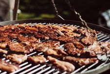 Free Grilled Pork On Charcoal Grill Stock Photos - 126176503