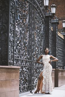 Free Woman Standing Beside Black Steel Gate Royalty Free Stock Image - 126176616